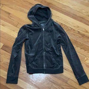 Grey Velour Track Zip-Up Jacket